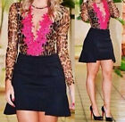 Women Sexy Casual Blouse Mesh Leopard Lace Shirts Clubwear Party Tops HFCA