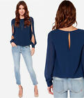 Charming Womens Loose  Long-sleeved Chiffon Casual Blouse Shirt Top HFCA