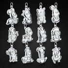 Charm Solid Sterling Silver Chinese Zodiac Pendant Red Rope Chain Necklace SN443