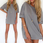 Fashion Women's Loose Chiffon T Shirt Tops Blouse 1/2 Sleeve Short Mini Dress