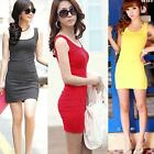 Sexy Sleeveless Stretch Mini Dress Women Bodycon Candy Color Casual Sundress J73
