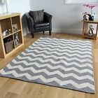 Grey Chevron Flatweave Modern Rugs Small Large Easy Clean Hand Woven Cotton Rug