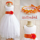 Beautiful White/burnt orange flower girl party dress FREE HEADPIECE all sizes