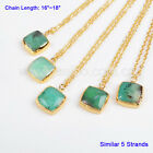 5 Strands Square Australia Natural Chrysoprase Necklace Gold Plated BG0381-N