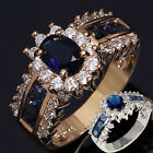 Jewelry Sz 7-9 Women Gold Silver Filled Blue Sapphire Wedding Engagement Ring