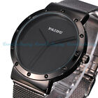 Luxury Mens Black Dial Stainless Steel Date Quartz Analog Sport Wrist Watch