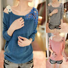 Sexy Fashion Street Women's Girl Loose Lace Tops Long Sleeve Shirt Casual Blouse