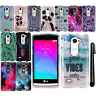 For LG Leon C40 H320 Tribute 2 LS665 Risio PATTERN HARD Case Phone Cover + Pen