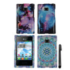 For LG Optimus Logic L35g Dynamic L38c Snap On PATTERN HARD Case Cover + Pen