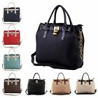 Ladies Boutique Faux Leather Padlock Tote Chain Satchel Shoulder Handbag Bag