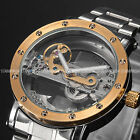 Steampunk Transparent Skeleton Mens Steel Band Automatic Mechanical Wrist Watch