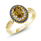1.30 Ct Oval Whiskey Quartz 18K Yellow Gold Plated Silver Ring
