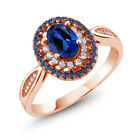 1.60 Ct Oval Blue Simulated Sapphire 18K Rose Gold Plated Silver Ring