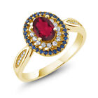 1.55 Ct Oval Ruby Red Mystic Topaz 18K Yellow Gold Plated Silver Ring