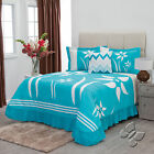 New Ladies Women Aqua Turquoise White Flowers Bedspread Bedding Set  image