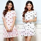 Women's Casual Eyes Printed Short Sleeve Back Zipper Mini Falbala Dress,New