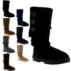 Womens Button Knitted Cardy Classic Fur Lined Winter Snow Rain Boots UK 3-10