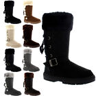 Womens Rope Lace Back Tall Fur Lined Buckle Winter Snow Rain Boots UK 3-10