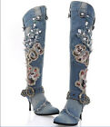 Womens Denim Jean Cowboy Western Mid Calf Black rough Heel Vintage Boots