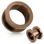 Pair Bronze Plated Steel Screw Fit Tunnels Earrings Gauges Body Jewelry