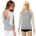 Fashion Womens Long Sleeve Shirt Casual Lace Blouse Loose Cotton Tops T Shirt C6