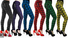 New Women's Banned Plaid Check Tartan Emo Punk Skinny Pants Trousers Size 26-40
