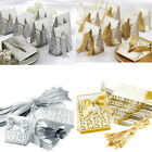 1-10x Golden Silver Ribbon Wedding Favours Party Gift Candy Paper Box Boxes Bag