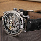 Men's Classic Leather round Dial Skeleton Mechanical Sport Army Wrist Watch