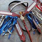 HILASON US AMERICAN FLAG WESTERN LEATHER HORSE HEADSTALL BREAST COLLAR  RED BLUE
