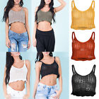 AQ22 Women Ladies Crochet Cami Bralet Scallop Bikini Bra Cable Knitted Crop Top