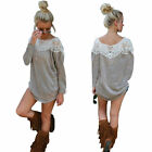 Women Fashion Long Sleeve Lace Blouse Loose Casual TShirt Sweater Pullover SY