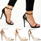 Womens ladies high stiletto barely there heels ankle strap evening party shoes