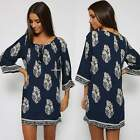 Hippie Boho Ladies Ethnic Floral Evening Party Short Mini Dress Loose Long Tops