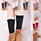 New Women Winter Knitted Leg Warmers Lace Crochet Boot Covers Leg Warmers Socks