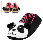 Ladies Knitted Ballet Animal Novely Slipper Pug / Panda With Non Slip Soles New