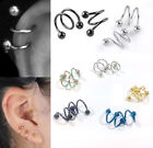 Punk Stainless Steel Spiral Helix Ear Stud Lip Nose Ring Body Piercing Jewelry image
