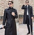 New Winter Fashion mens leather belted jacket coat trench outwear overcoat Parka