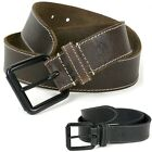 Timberland Men's Genuine Leather Belt Matte Metal Buckle Topstitch Detail 32-42