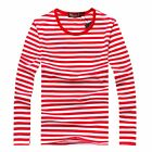 Men Fashion Striped Long Sleeve Round Neck Slim Overpull Top T-Shirt Shirt M-XXL