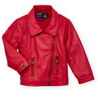 Koala Kids Girls Hot Pink Faux Leather Moto Jacket with Zip Up Fas - Toddler