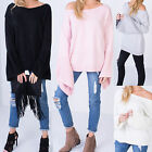 AR98 Womens Ladies Off Shoulder Oversized Bell Sleeve Knitted Jumper Sweater Top