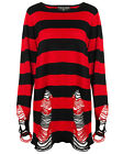 Killstar Krueger Knit Sweater Top Black Red Stripe Goth Baggy Grunge Jumper