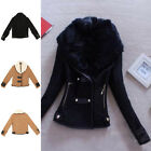 Sexy Women Slim Fit Fur Collar Coat Winter Warm Casual Jacket Short Outerwear