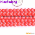 "Round Faceted Pink Coral Dyed Jewelry Making Design Craft Beads Gemstoe 15""DIY"