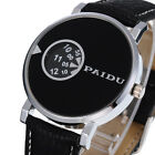 PAIDU New Men's Watch Black Leather Band Date Analog Quartz Sport Wrist Watch