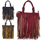 Ladies Womens Satchel Tote Tassle Bag Fringe Tassel Shoulder Messenger Handbag