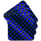 Blue Abstract 3D Wave Set of 4 Coasters