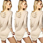 Fashion Women Lady's Round Neck Long Sleeve Cotton Shirts Loose Tops Blouse