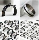 6X Punk Gothic Unisex Pop Stainless steel Black Rivet/Silver Rings Mix 7 8 9