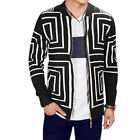 Men Stand Collar Long Sleeves Zip Up Geometric Prints Knitted Cardigan